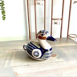 Vtg Tostado Mexican Pottery Hand Painted Duck
